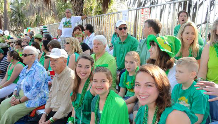 Bleacher seating for Savannah St. Patrick's Day Parade. Call Kelly Tours to reserve your bleacher seating today.
